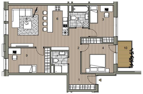 Novostavba 4 izbový byt, širšie centrum v Bratislave, Beskydská ulica, 90,37m2, balkón 4,5m2, štandard.-15