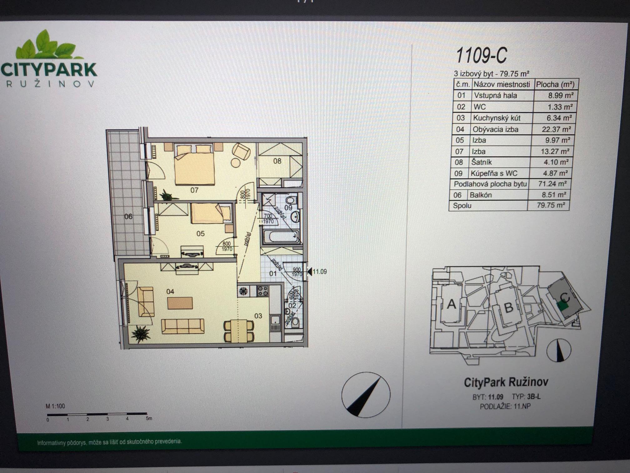 Predané: Exkluzívny 3- izbový byt v NOVOSTAVBE BA-NIVY, City Park, 71,24m2, balkón 8,5m2-28