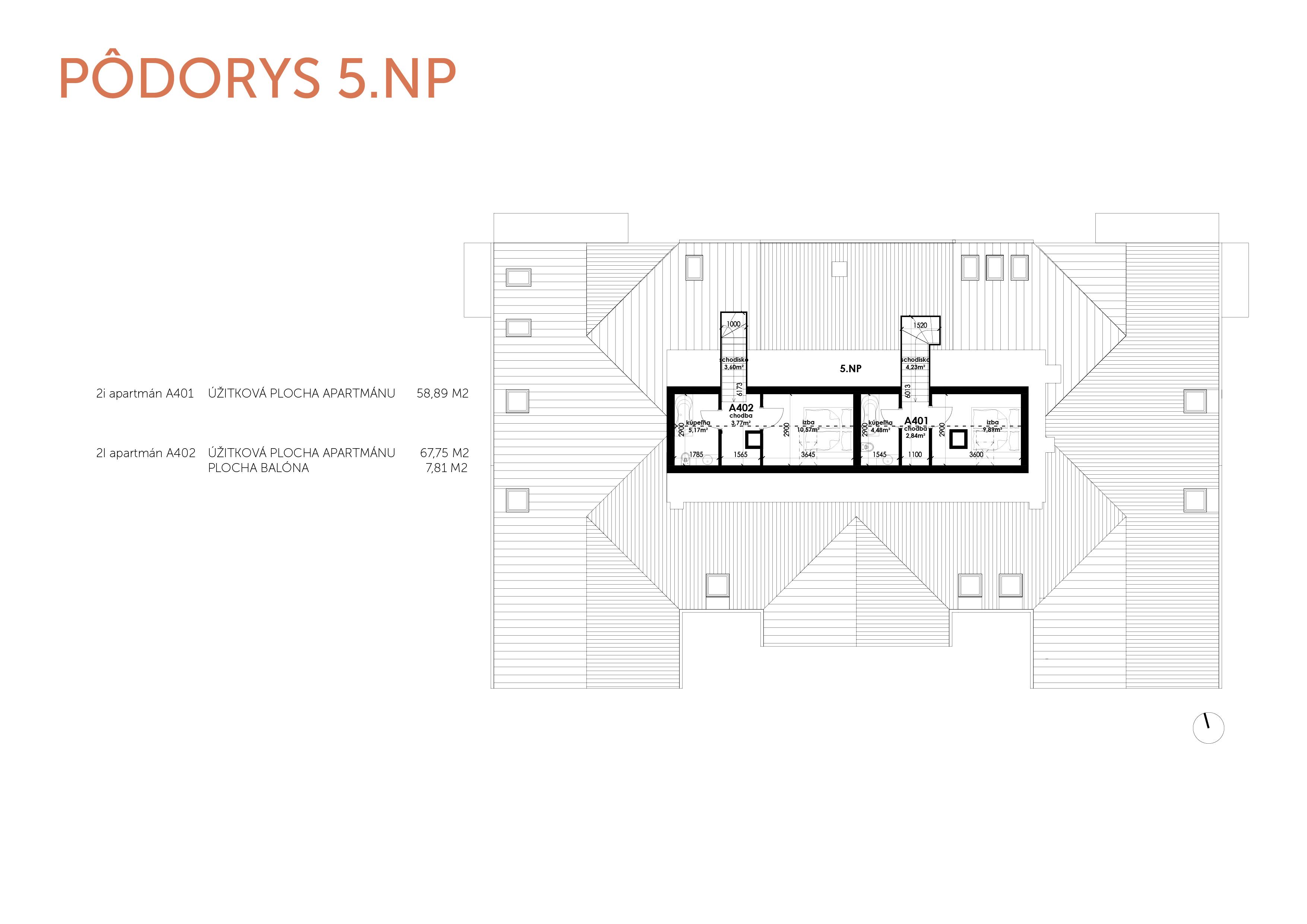 NOVOSTAVBA Apartmán 2 IZBOVÝ, na dvoch podlažiach, M-HOUSE, MALACKY CENTRUM, 58,89M2-7