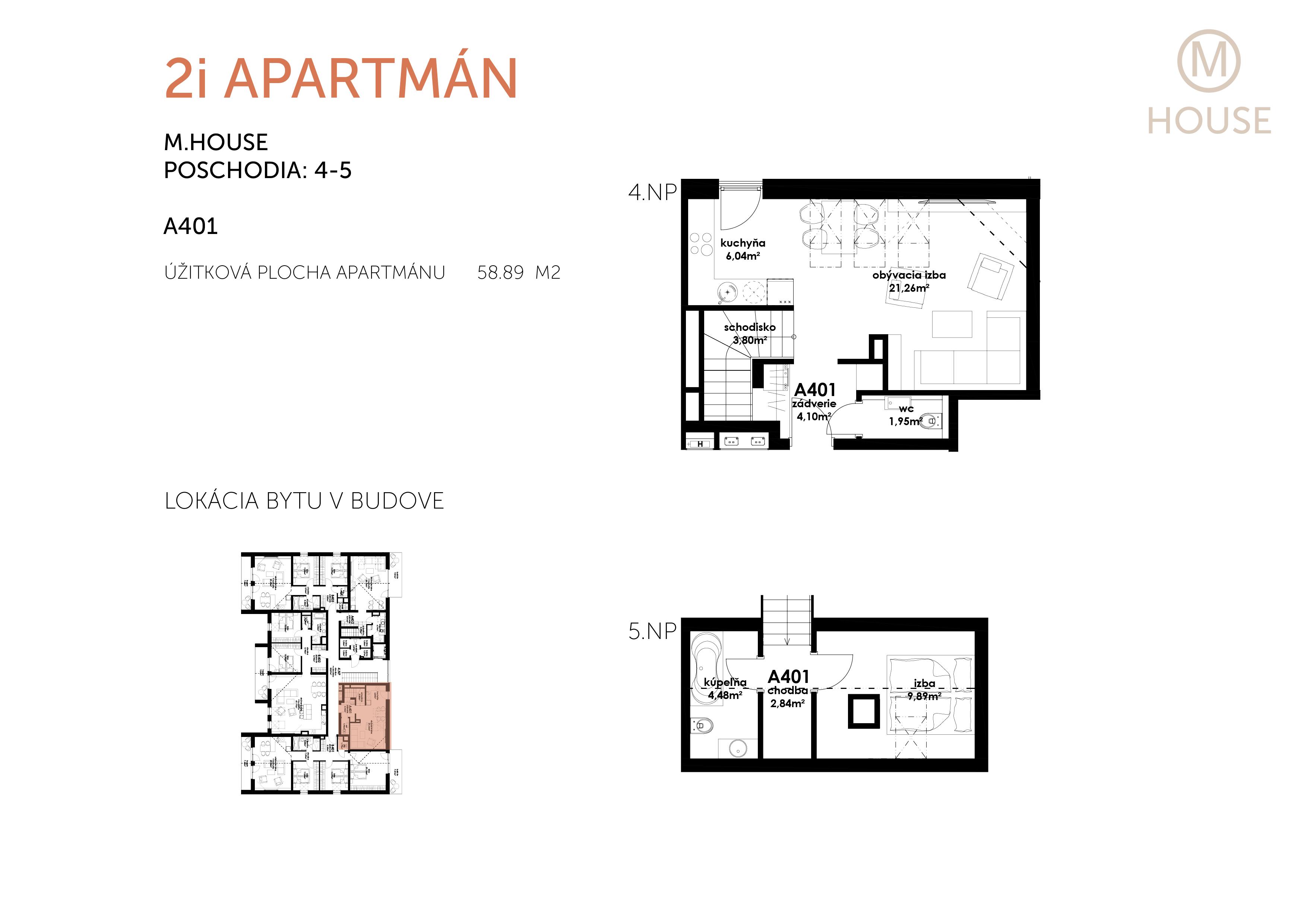 NOVOSTAVBA Apartmán 2 IZBOVÝ, na dvoch podlažiach, M-HOUSE, MALACKY CENTRUM, 58,89M2-5