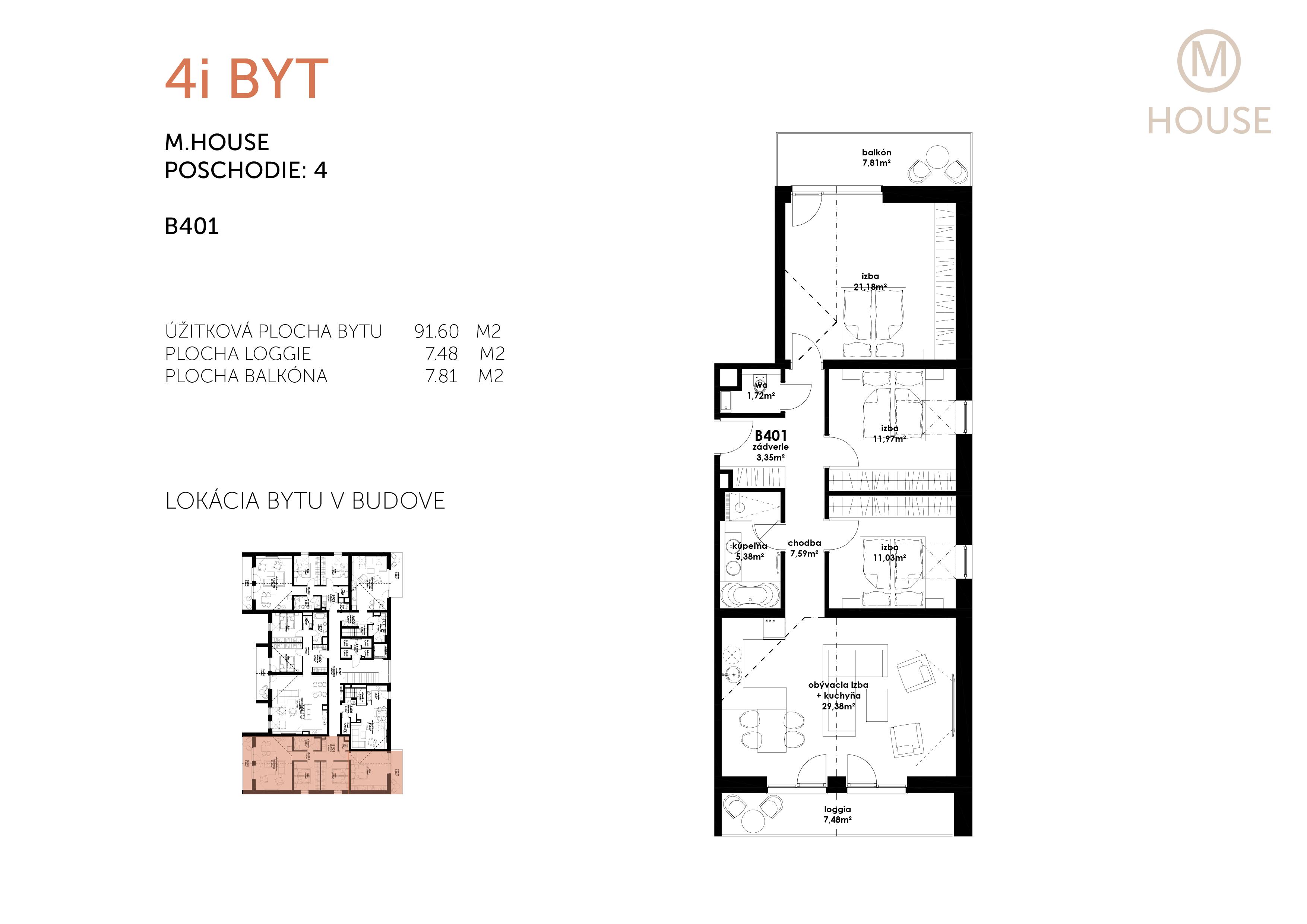Novostavba 4 Izbový, M-House, Malacky centrum, 91,60m2, Loggia 15,29m2-5