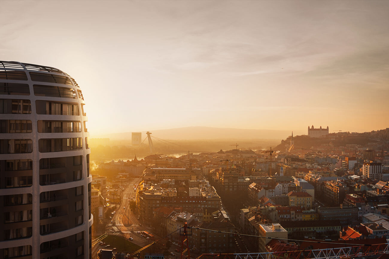 2 izbový byt v Sky parku, I Veža, 6 nadzemné podlažie, úžitková 46,28 m2 ,Loggia 4,75m2, parkovanie-38