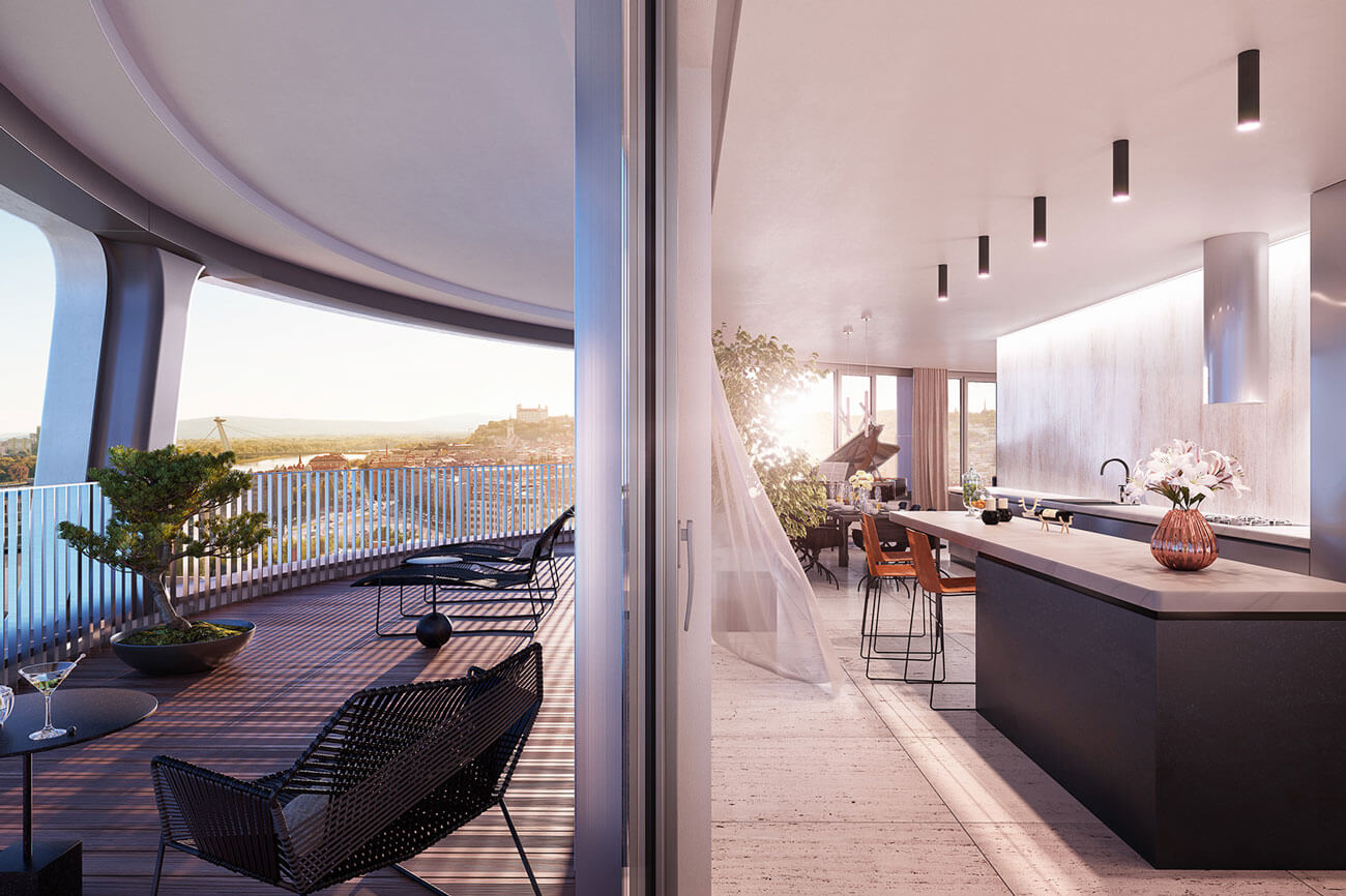 2 izbový byt v Sky parku, I Veža, 6 nadzemné podlažie, úžitková 46,28 m2 ,Loggia 4,75m2, parkovanie-30