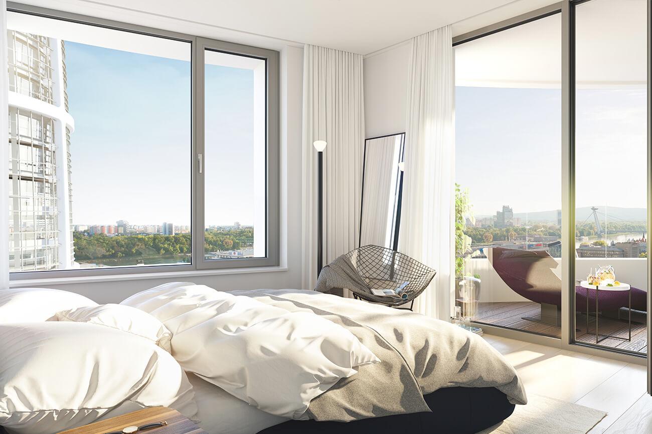 2 izbový byt v Sky parku, I Veža, 6 nadzemné podlažie, úžitková 46,28 m2 ,Loggia 4,75m2, parkovanie-22