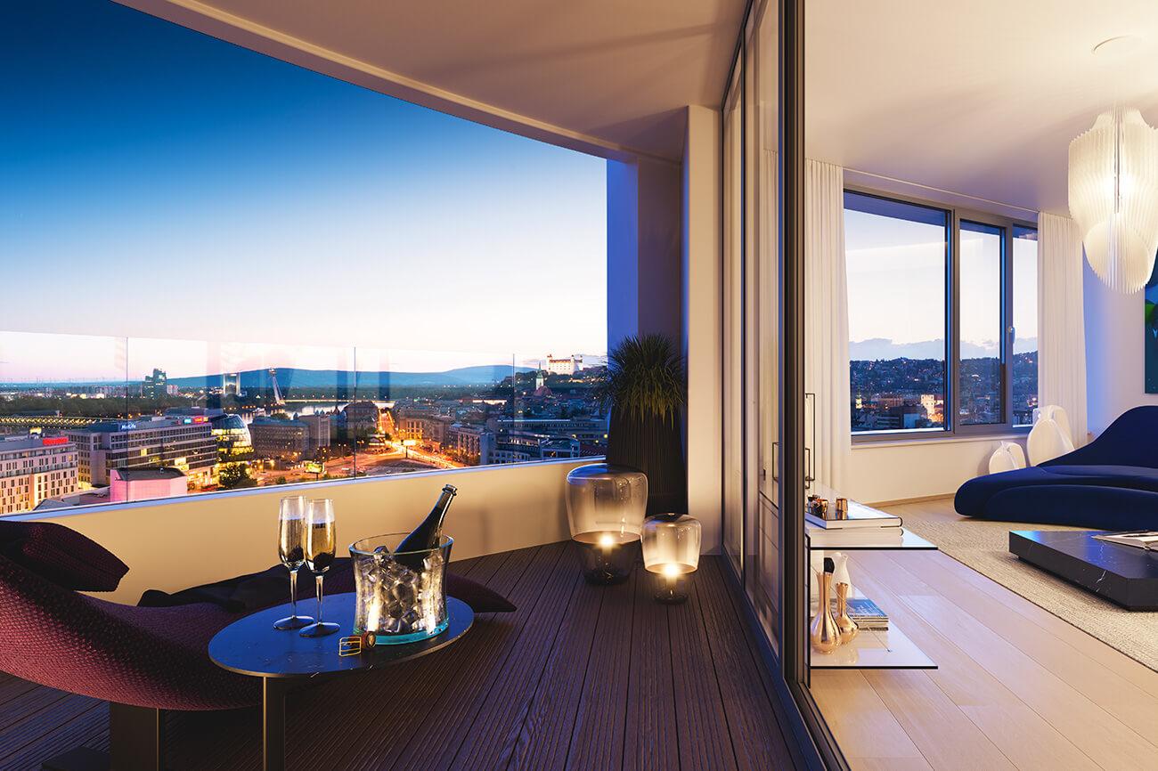 2 izbový byt v Sky parku, I Veža, 6 nadzemné podlažie, úžitková 46,28 m2 ,Loggia 4,75m2, parkovanie-23
