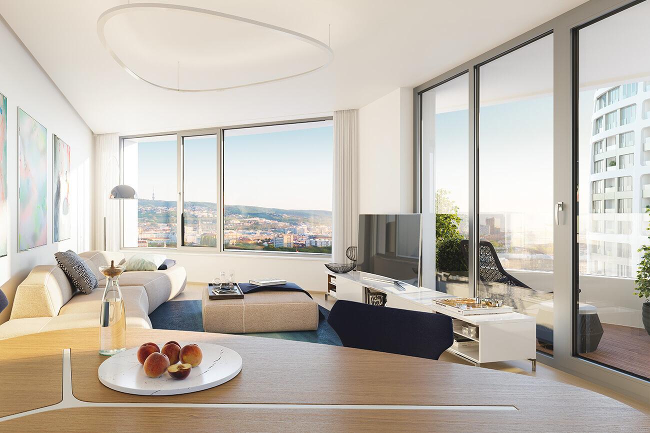 2 izbový byt v Sky parku, I Veža, 6 nadzemné podlažie, úžitková 46,28 m2 ,Loggia 4,75m2, parkovanie-25