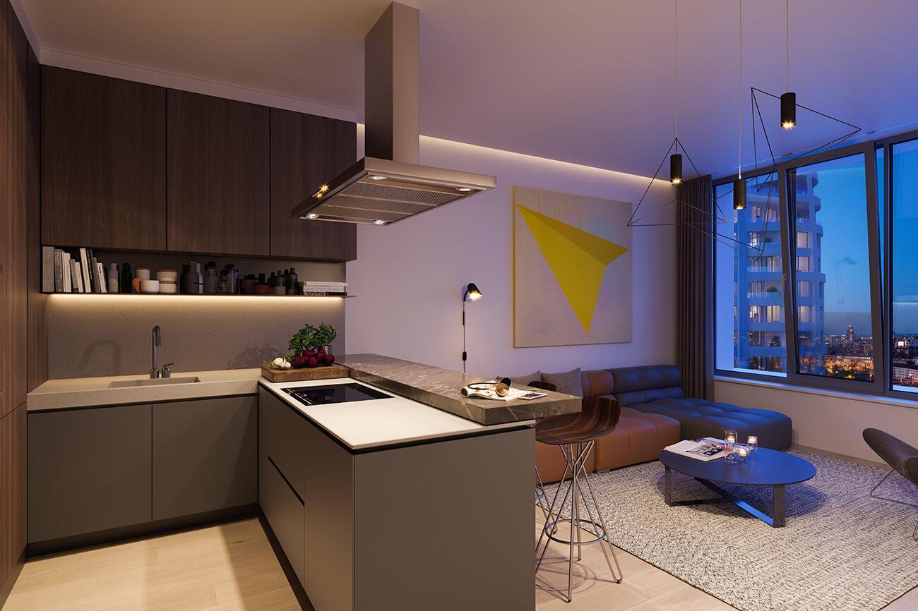 2 izbový byt v Sky parku, I Veža, 6 nadzemné podlažie, úžitková 46,28 m2 ,Loggia 4,75m2, parkovanie-26