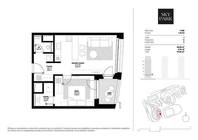 2 izbový byt v Sky parku, I Veža, 6 nadzemné podlažie, úžitková 46,28 m2 ,Loggia 4,75m2, parkovanie-17
