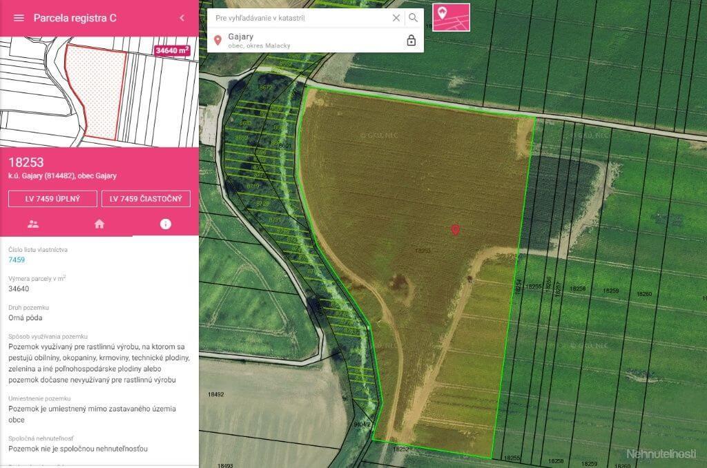 Predané: Na predaj exkluzívne ucelený pozemok, Orná pôda, 34 640m2, Gajary okres Malacky, cena 1,40€/m2-1