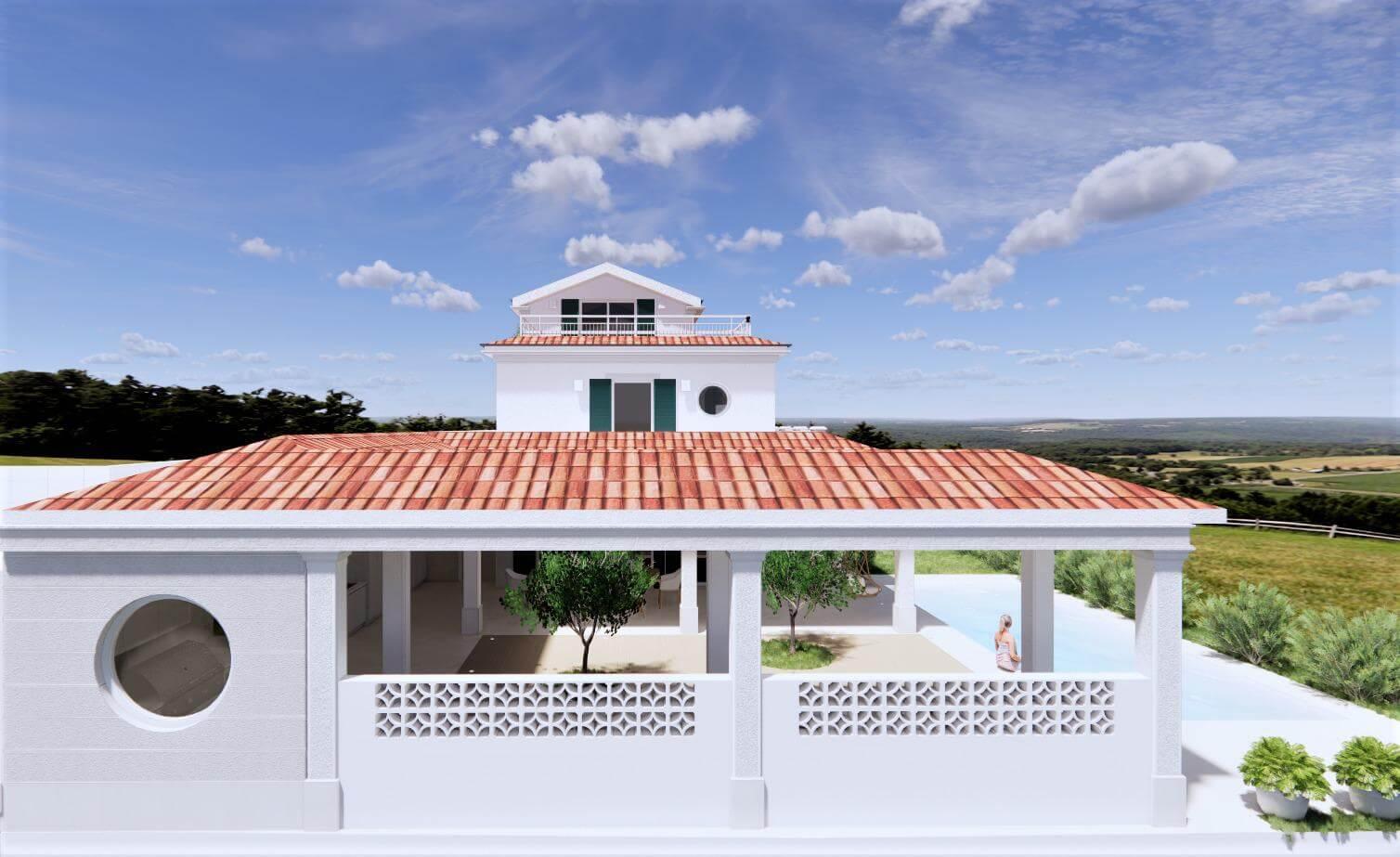 Veľký rozostavaný rodinný dom, 3NP spolu 355,13m2,pozemok 650m2,Novalja, na ostrove Pag, Chorvátsko-5