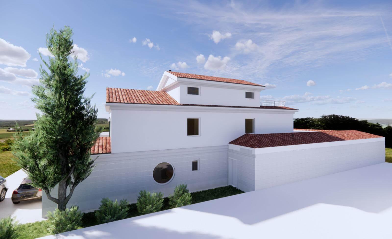 Veľký rozostavaný rodinný dom, 3NP spolu 355,13m2,pozemok 650m2,Novalja, na ostrove Pag, Chorvátsko-11